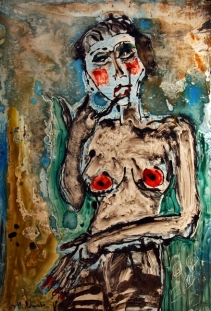"""Burlesque Gertruda, 2009 Ink on glass and paper 26""""x 40"""""""